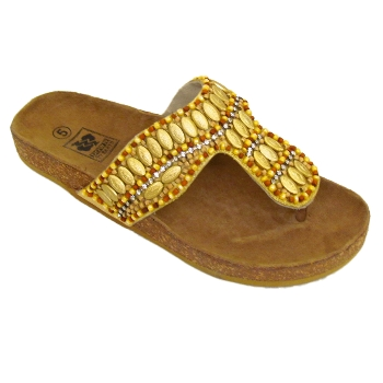 sandalen damen flip flops gold perlen sommerschuhe gr e 36 40 ebay. Black Bedroom Furniture Sets. Home Design Ideas