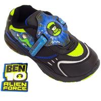 View Item BOYS KIDS NEW BLACK BEN 10 ALIEN FORCE LIGHT UP TRAINERS SCHOOL SHOES SIZES 7-2