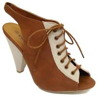 View Item LADIES BEIGE & TAN PEEP-TOE SNAKESKIN LACE-UP SLINGBACK ANKLE SHOES SIZE 3