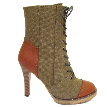 WOMENS KHAKI CANVAS ZIP-UP LACE-UP LADIES MILITARY WORKER ANKLE BOOTS SIZE 3-8