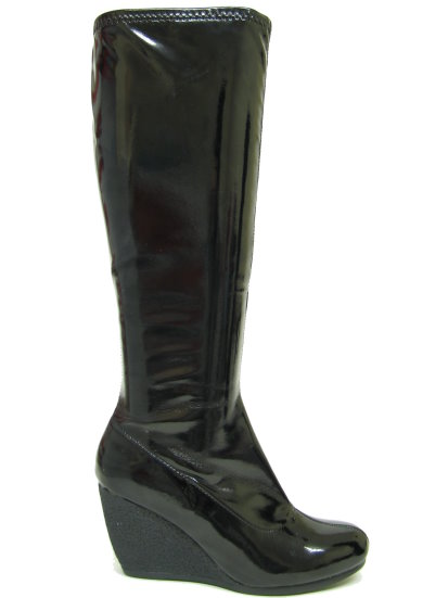 new black patent pvc knee high wedge boots buy