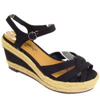 View Item BLACK DENIM HESSIAN SUMMER STRAPPY WEDGE ANKLE SANDALS SHOES SIZES 1-3