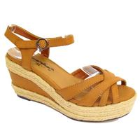 View Item TAN DENIM HESSIAN SUMMER STRAPPY WEDGE ANKLE SANDALS SHOES SIZES 1-3