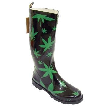 BLACK CANNABIS HEMP WEED WELLINGTON WELLIES RUBBER MENS RAIN BOOTS ...