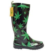 View Item BLACK CANNABIS HEMP WEED WELLINGTON WELLIES RUBBER MENS RAIN BOOTS SIZE 5-11