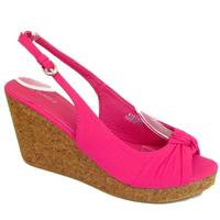 View Item LADIES PINK SLINGBACK PEEP-TOE CORK WEDGE WOMENS SUMMER SANDALS SIZES 3-8