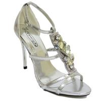 View Item WOMENS SILVER BRIDESMAID BRIDE WEDDING BRIDAL GEM JEWEL SANDALS SHOES SIZE 3-8