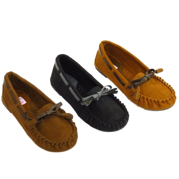 KIDS BROWN BLACK OR TAN BOYS GIRLS SLIP-ON SUEDE EFFECT MOCCASINS SHOES 11-4 Preview