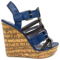 View Item LADIES NAVY STRAPPY PEEP-TOE CORK WEDGE WOMENS PLATFORM SANDALS SHOES SIZE 3-8