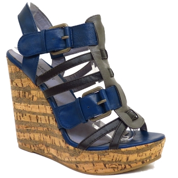 LADIES NAVY STRAPPY PEEP TOE CORK WEDGE WOMENS PLATFORM ...
