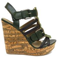 View Item LADIES GREEN STRAPPY PEEP-TOE CORK WEDGE WOMENS PLATFORM SANDALS SHOES SIZE 3-8