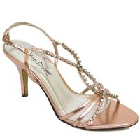 View Item LADIES CHAMPAGNE PINK DIAMANTE EVENING BRIDAL STRAPPY SANDALS SHOES SIZES 3-8