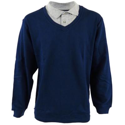 Mens navy blue grey cotton polo v neck t shirt jersey long for Cotton long sleeve v neck t shirts