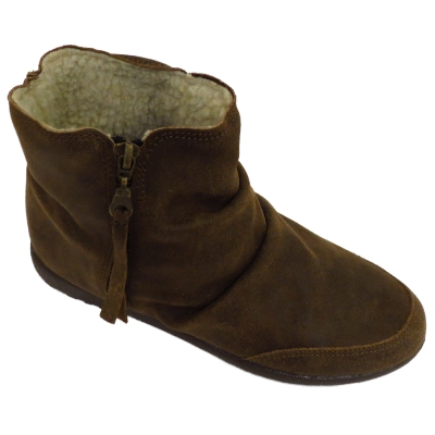 ankle boots brown italian leather fleece lined flat