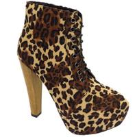 View Item LADIES LEOPARD PRINT LACE-UP PLATFORM HIGH BLOCK-HEEL ANKLE BOOTS SHOES SIZE 3-8