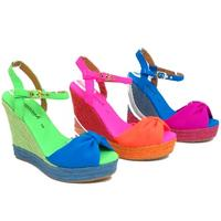 View Item LADIES NEON FLUORESCENT PEEP-TOE HESSIAN WEDGE PLATFORM SANDALS SHOES SIZES 3-8