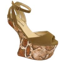View Item LADIES TAUPE SNAKESKIN SCULPTURED HEEL PLATFORM WEDGE SANDALS SHOES SIZES 3-8