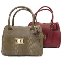 View Item LADIES KHAKI OR BURGUNDY SNAKE-SKIN TOTE SHOULDER WOMENS LARGE HAND-BAG