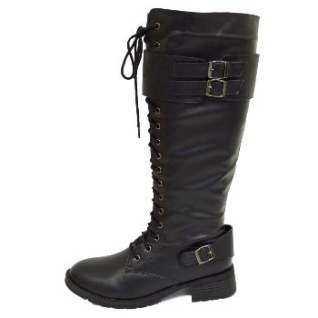 womens black biker zip up knee high wide calf lace boots