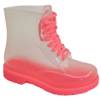 WOMENS-PINK-SEE-THROUGH-CLEAR-LACE-UP-WELLIE-ANKLE-PVC-BOOTS-SIZES-3-8