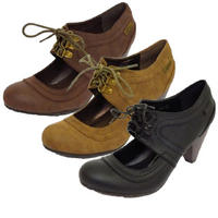 View Item LADIES BLACK BROWN OR TAUPE ROUND-TOE VICTORIAN LACE-UP COURT SHOES SIZES 3-8