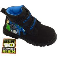 View Item BOYS KIDS BLACK BEN 10 VELCRO ANKLE BOOTS SHOES TRAINERS SCHOOL SIZES 8-1