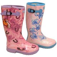 View Item LADIES PINK LILY OR HORSE WELLIGOGS WELLINGTONS RUBBER RAIN BOOTS SIZES 4-8