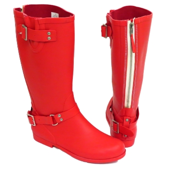WOMENS BLACK OR RED WIDE CALF BIKER ZIP-UP WELLINGTON RUBBER RAIN ...