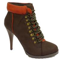 View Item LADIES BROWN MILITARY ARMY STYLE LACE-UP HIGH-HEEL WOMENS BOOTS SIZES 3-8