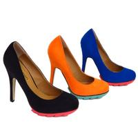 View Item LADIES BLACK BLUE OR ORANGE RETRO SLIP-ON PLATFORM COURT SHOES SIZES 3-8