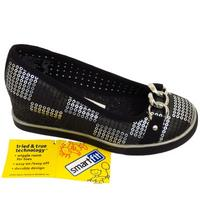 View Item GIRLS KIDS BLACK SLIP-ON WEDGE BUCKLE PUMP SCHOOL GLITTER SHOES SIZES UK 10-5