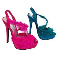 View Item WOMENS TURQUOISE or PINK FEATHER PROM PARTY STRAPPY EVENING SANDALS SIZE UK 3-8