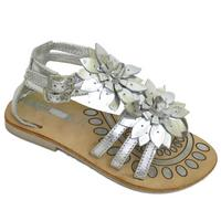 View Item GIRLS KIDS SILVER LEATHER FLAT FLOWER STRAPPY SANDALS SUMMER SHOES SIZES 7-3