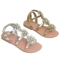 View Item GIRLS KIDS GOLD OR SILVER LEATHER FLAT DIAMANTE SANDALS SUMMER SHOES SIZES 7-3