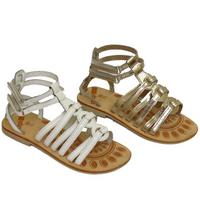View Item GIRLS KIDS WHITE OR PLATINUM LEATHER FLAT GLADIATOR SANDALS SHOES SIZES 7-3