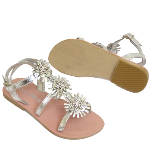 GIRLS SILVER OR GOLD LEATHER FLAT DIAMANTE SANDALS BEACH SHOES SIZES 7-3 | EBay