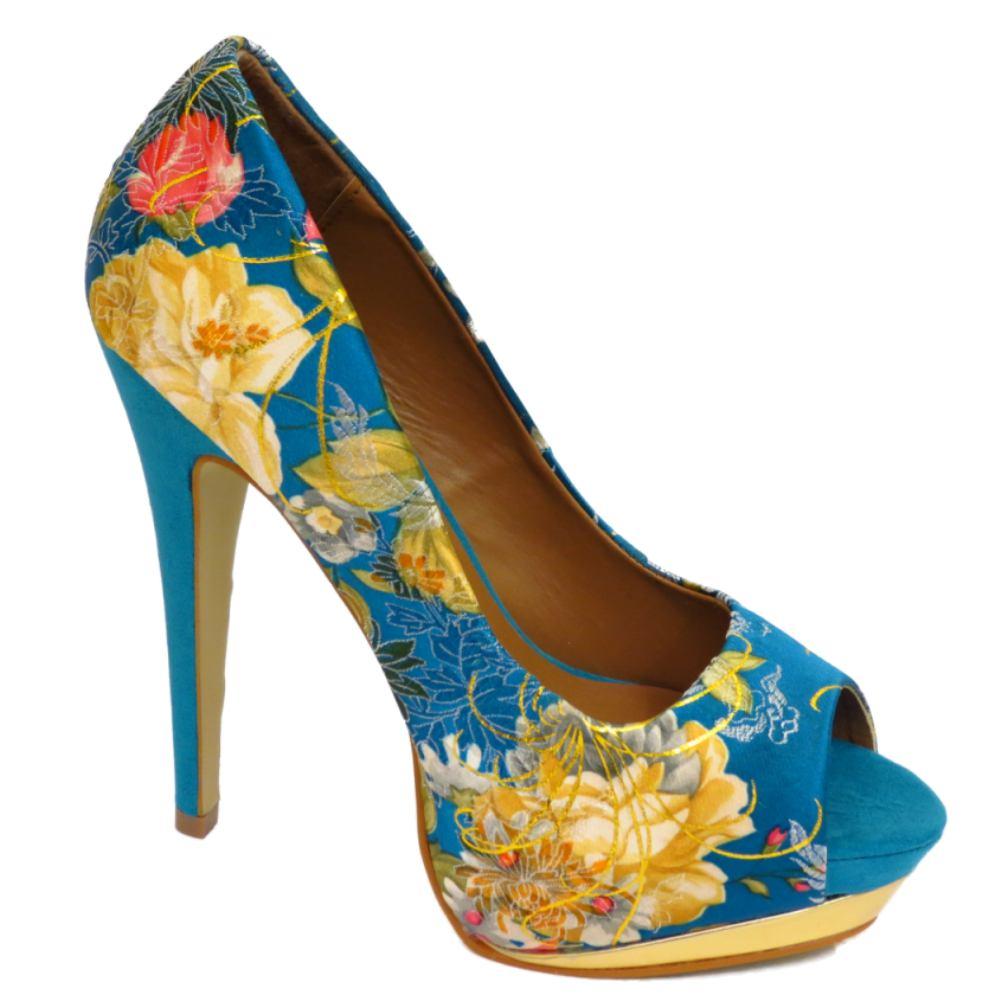 damen sexy high heels blau gold plateau stoeckelschuhe. Black Bedroom Furniture Sets. Home Design Ideas