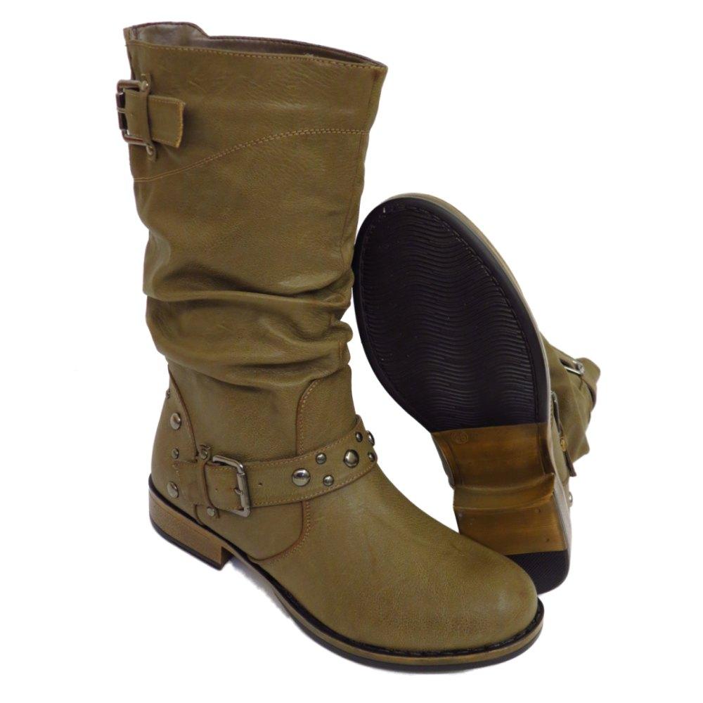 womens taupe flat buckle stud calf high toe