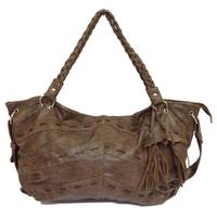 View Item BROWN OVER-SIZED LARGE SHOPPER WOMENS BOHO SOFT SLOUCH HAND-BAG