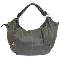View Item GREY OVER-SIZED LARGE SHOPPER WOMENS BOHO SOFT SLOUCH HAND-BAG