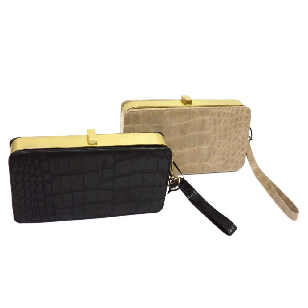black or beige tan moc croc odile box wrist strap clutch. Black Bedroom Furniture Sets. Home Design Ideas