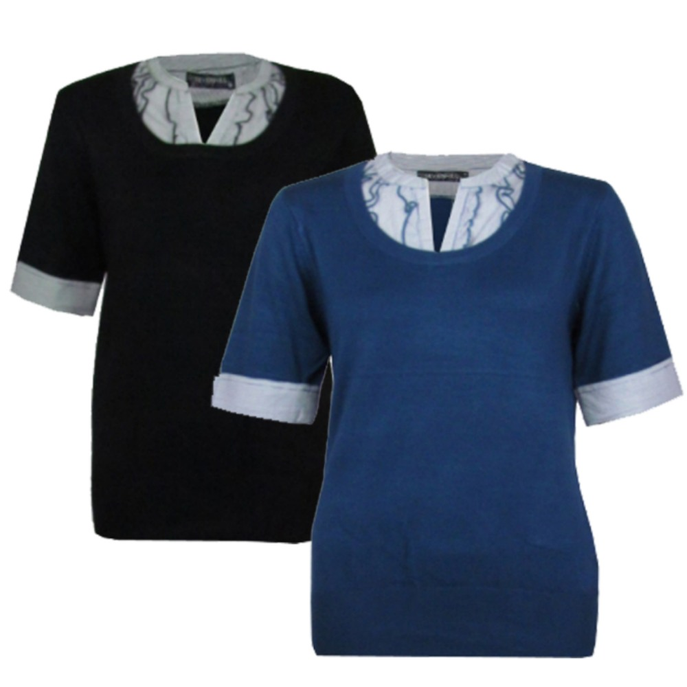 LADIES BLACK OR BLUE SMART SHORT SLEEVE MOCK SHIRT JUMPER WOMENS ...