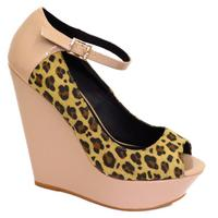 View Item LADIES NUDE FAUX SUEDE PEEP-TOE PATENT ANKLE-STRAP PLATFORM WEDGE SHOE SIZES 3-8