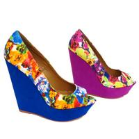 View Item LADIES PINK OR BLUE FLORAL PLATFORM SUMMER SANDAL PEEP-TOE WEDGE SHOES SIZES 3-8