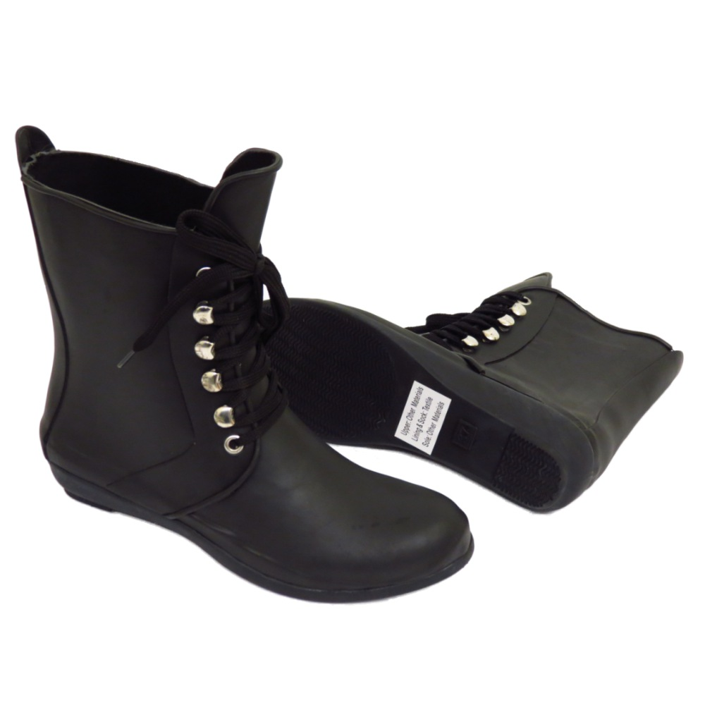 Negro con cordones jard n botas de agua festival lluvia - Agua de lluvia ...