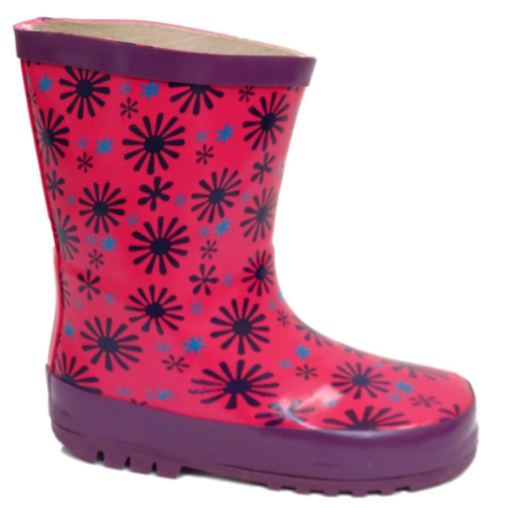 KIDS ANKLE WELLIES GIRLS PINK SLIP ON WATERPROOF RAIN WELLINGTON BOOTS SIZE 4-9