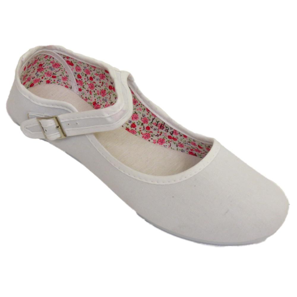 WOMENS WHITE BUCKLE FLAT BALLET BALLERINA LADIES BRIDESMAID PUMPS SHOES SIZE 3-9 | EBay