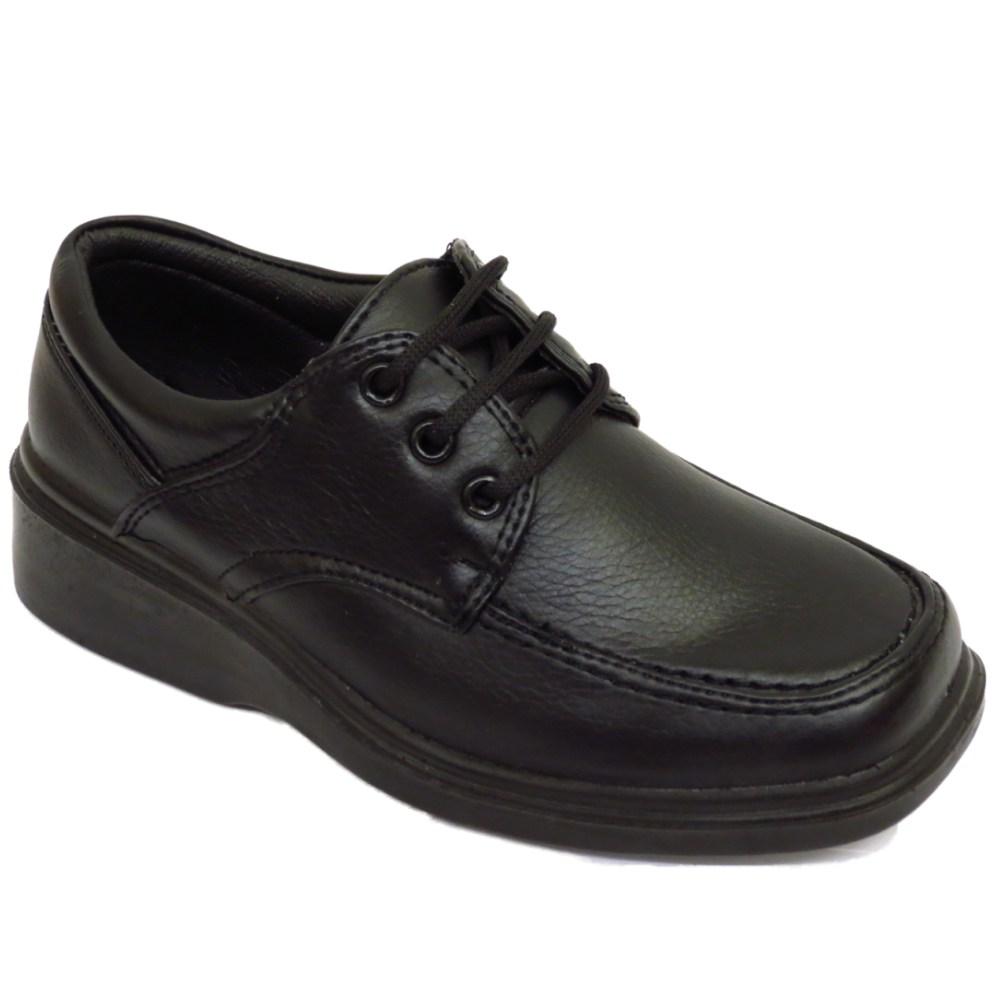 boys black smart lace up back to school comfort