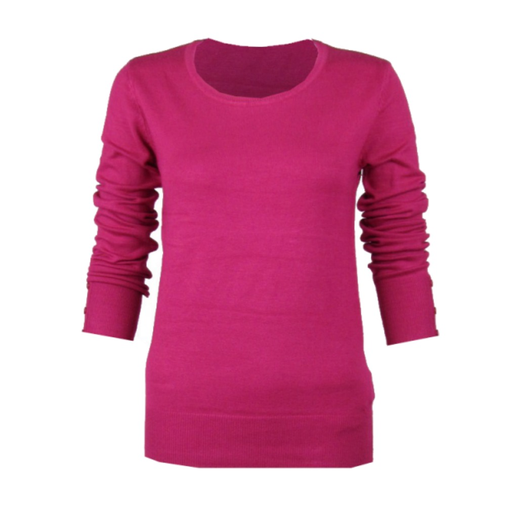 FUSCHIA HOT PINK ROUND CREW-NECK LONG SLEEVE SMART JUMPER TOP ...
