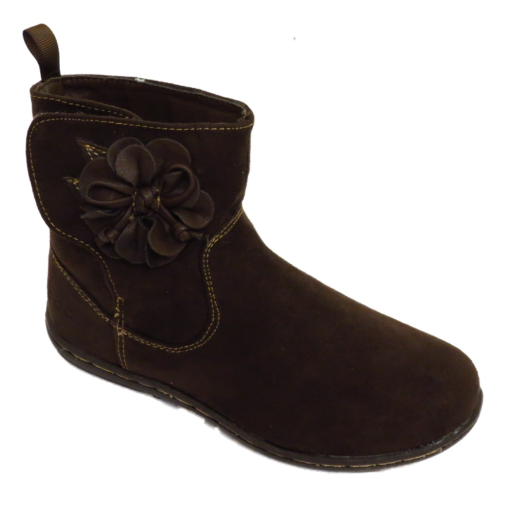 childrens brown ankle flower velcro school